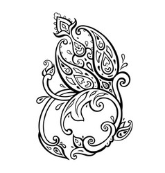 paisley hand drawn boho ornament vector image