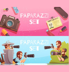 Paparazzi horizontal banners collection vector