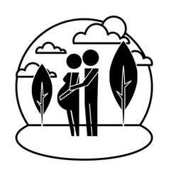 parents couple pregnancy in landscape silhouettes vector image