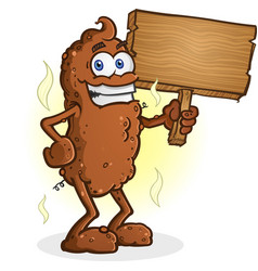 poop cartoon character holding sign vector image