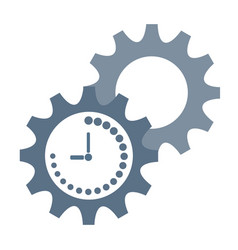 Productivity icon with clock and gear stock vector