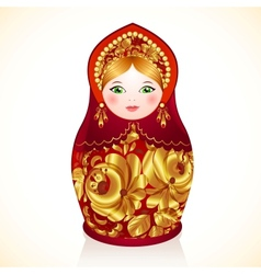 Red and gold colors Russian doll Matryoshka vector image