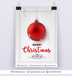 Red christmas ball and text on light background vector