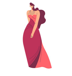 rich woman in long dress and jewelry prom or party vector image