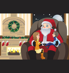 Santa claus with two kids vector