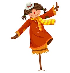 Scarecrow in woman dress and scarf vector