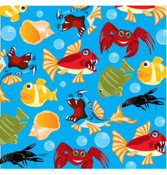 sea inhabitants background vector image