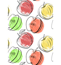 seamless pattern with apples of different shapes vector image
