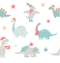 seamlesss pattern with christmas dinos vector image