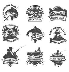 Set of carp fishing labels isolated on white vector