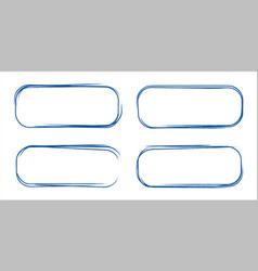 set of hand drawn grunge style dark blue vintage vector image