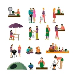 set of people buying food and enjoying vector image