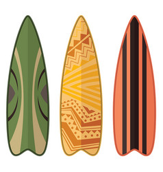 Set surfboards design isolated on white vector