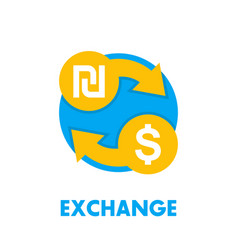 Shekel to dollar exchange icon on white vector