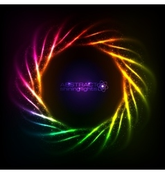 Shining neon rainbow lines cosmic frame vector image