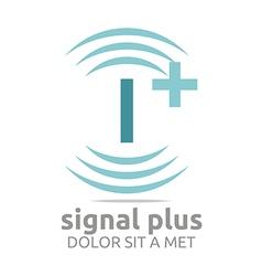 Signal letter i plus blue alphabet wireless vector