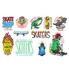 skateboard shop badges and logo set vintage retro vector image