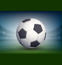 Soccer ball on night field stadium vector