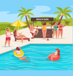summer pool party composition vector image