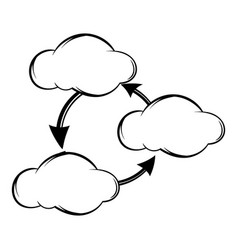 three clouds communicating with each other icon vector image