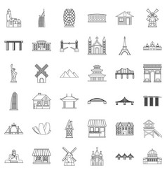 tower icons set outline style vector image
