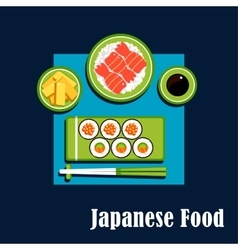 Traditional japanese cuisine dinner icons vector