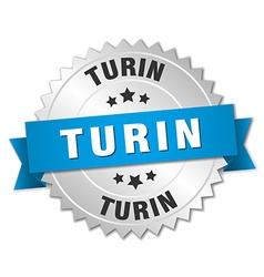 Turin round silver badge with blue ribbon vector