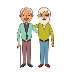 Two older men embraced friends people vector