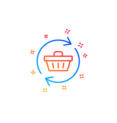Update shopping cart line icon online buying vector