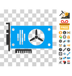 videocard icon with bonus vector image