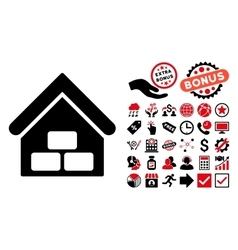 Warehouse Flat Icon with Bonus vector image