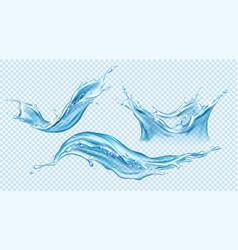 water splash set aqua liquid dynamic motion vector image