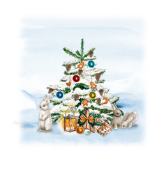 Watercolor christmas tree with snowman bunny vector