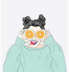 women wearing a happy orange vector image