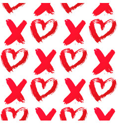 Xo with heart drawn with red lipstick seamless vector