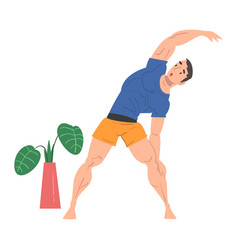 Young man doing side bends at home physical vector
