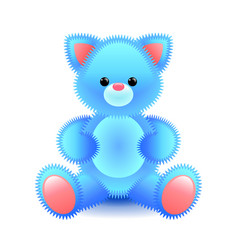 cute blue cat soft toy isolated on white vector image