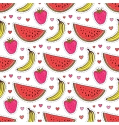 Doodle seamless pattern with fruits Banana vector image vector image
