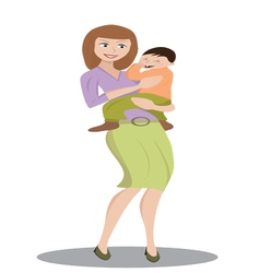 mother holding a child vector image