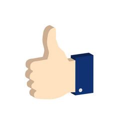 thumb up symbol flat isometric icon or logo 3d vector image vector image
