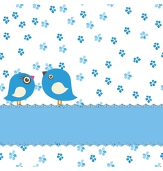 Greeting card with two cute birds on painting vector image vector image