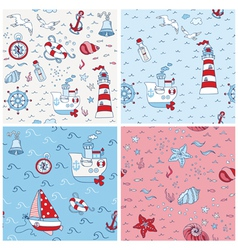 Nautical Sea Backgrounds - Set of Seamless Pattern vector image vector image