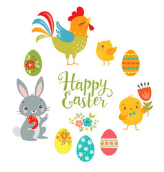 set of cute easter design elements vector image vector image