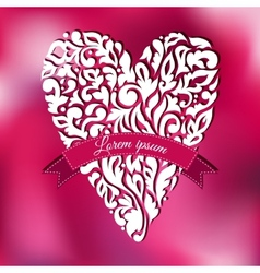 White lace ornamental heart Greeting card vector image vector image