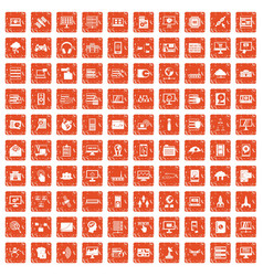 100 database and cloud icons set grunge orange vector image vector image