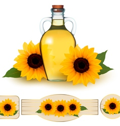 Bottle of sunflower oil with flower and labels vector image