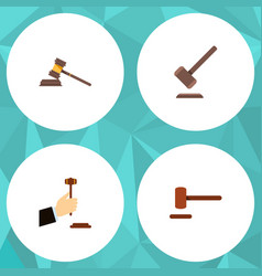 flat icon court set of tribunal court law and vector image