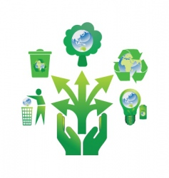 hand holding recycle icons 2 vector image vector image