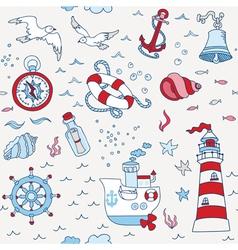 Nautical Sea Seamless Pattern vector image vector image