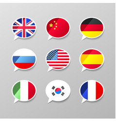 nine colorful speech bubbles with flags different vector image